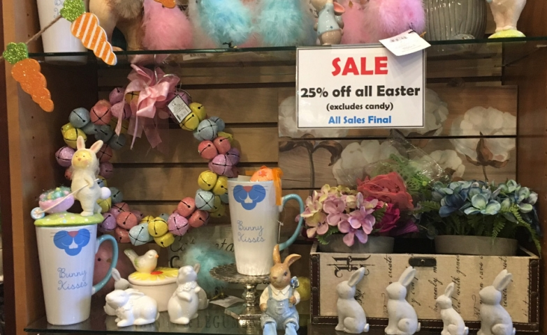 25% off for Easter, pink and blue fluffy chickens, rabbits and paper eggs designed for the window display.
