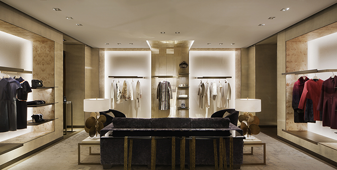 Fendi clothing rack lighting