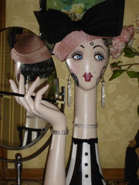 Handpainted Flapper Mannequin Head