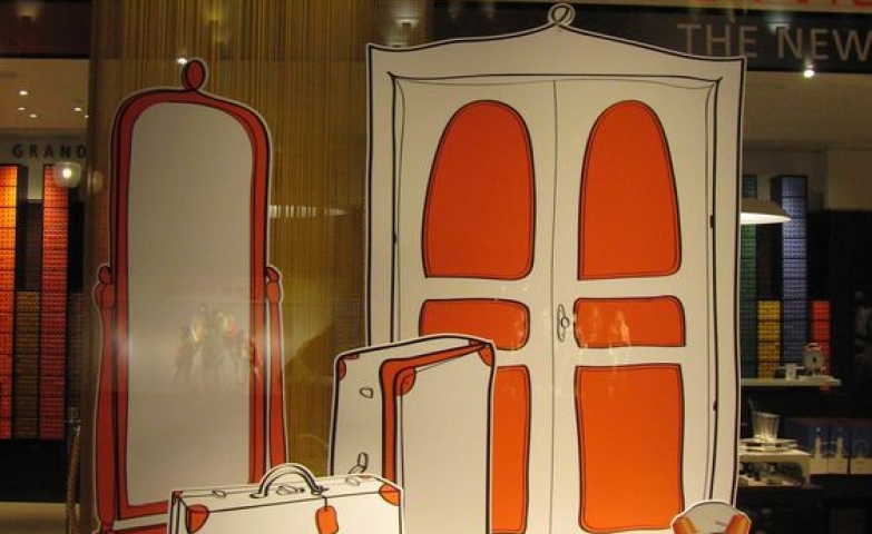 Attractive orange with lively strockes seen in a Nespresso window display in London.
