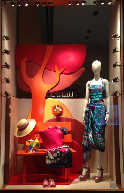 "The fashion windows of Milan are all so inspiring like this Hermes window themed ""Take you to nature""."