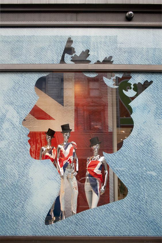 Ceremonial window display for the 75th anniversary of Queen Elizabeth's reign.