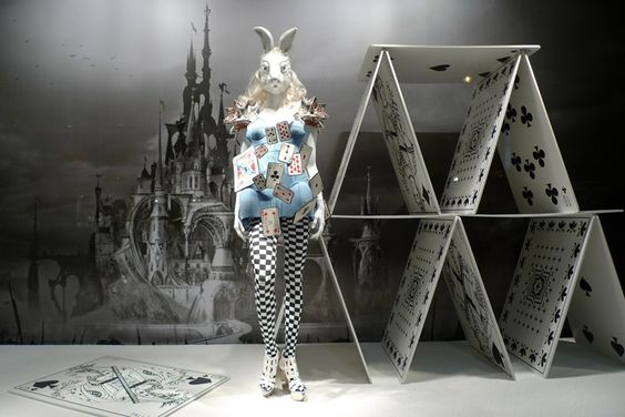 "Designer Manish Arora created an ""Alice in Wonderland"" themed store window for Printemps Shop, Paris, France."