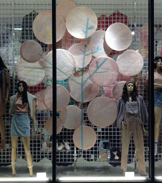 Visual merchandising by Lena Shockley designed for American Apparel and the cherry blossom season.