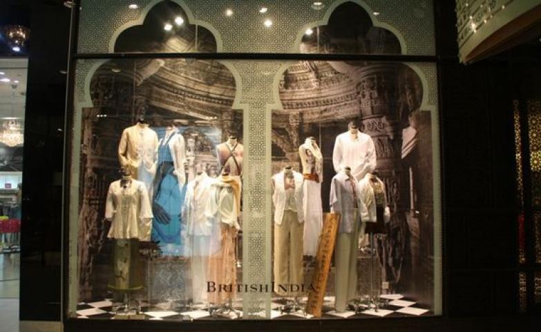 Merchandise window display of the store British India in Singapore.
