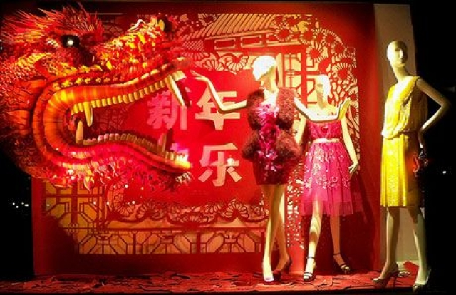 The color red keeps repeating itself in many window displays from China, especially the ones that are based around the Chinese New Year celebration.