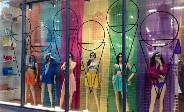 Visual merchandising by Lena Shockley designed for American Apparel with ice cream cone shapes and bright colors.