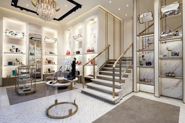 Interior store display with design by Christian Lahoude Studio, for the store of Jimmy Choo in Chengdu, China.