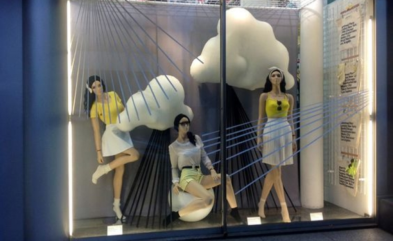 Visual merchandising by Lena Shockley designed for American Apparel and displaying the rainy season with clouds and rain.