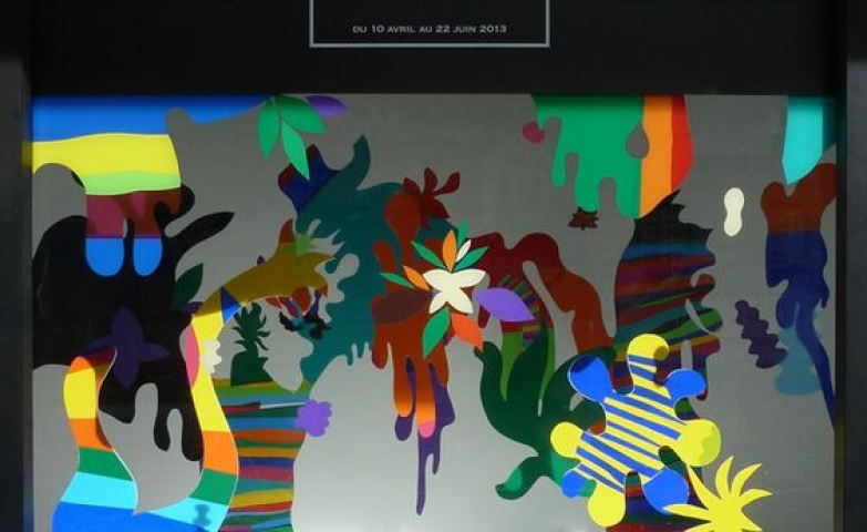 "Visual merchandising created by Pedro Varela themed ""Le Bresil"" with colorful forms and patterns seen in Bon Marche."
