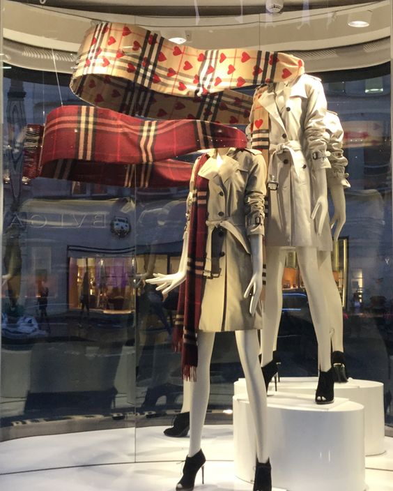 Display inspiration from Burberry, their trademark scarfs can be seen from far away, September 2015 in London.