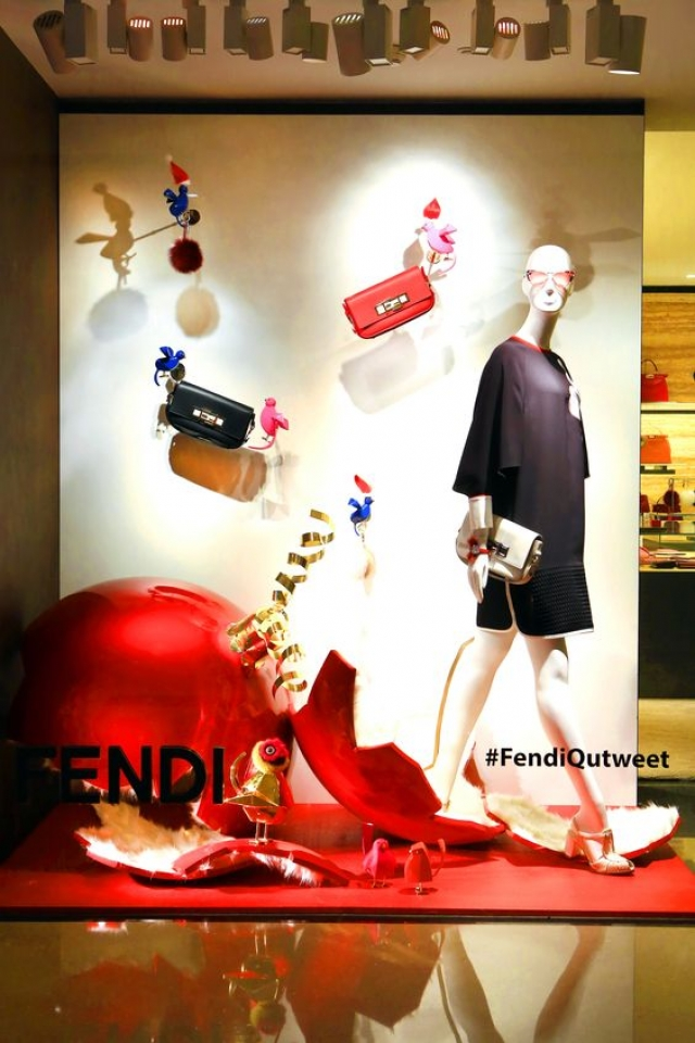 Fendi window display for the Qutweet Collection displayed at the Beijing World, China.
