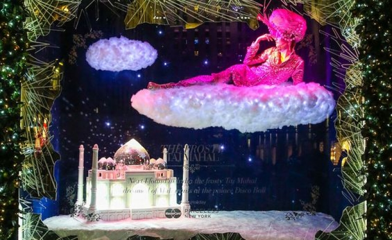 Festive window display with many lights, unusual decoration inspired by the Taj Mahal in India.