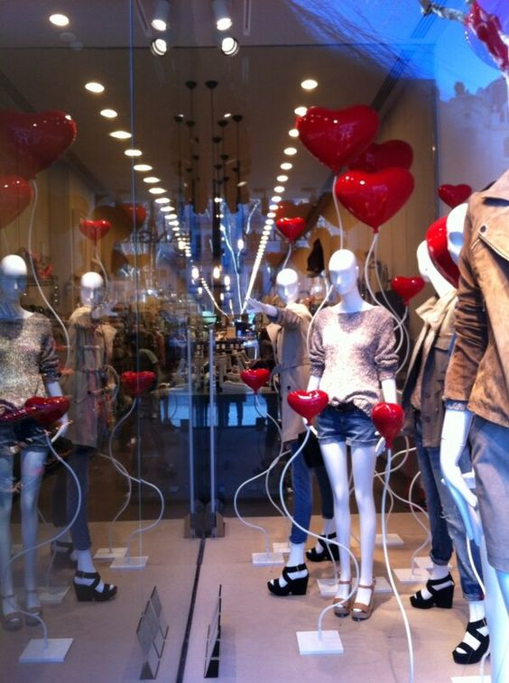 Mango visual merchandising display with lovely hearts seen in Barcelona.