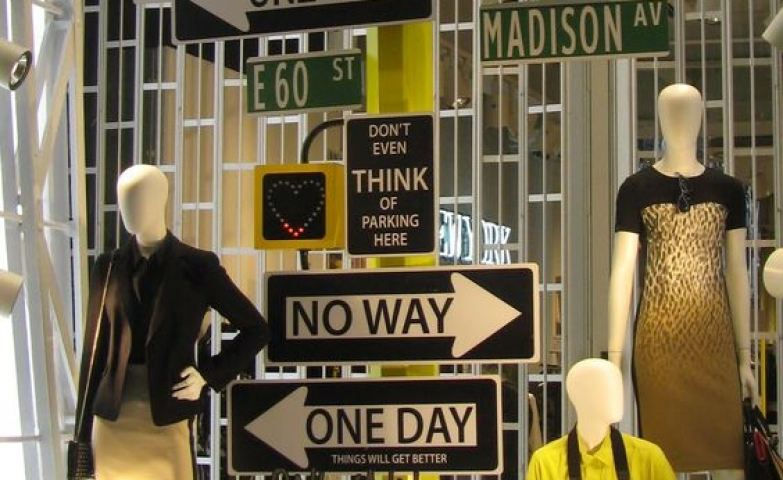 Truly eye-catching statement window, the idea was to create the NYC spirit and brand identity through signage, for DKNY.