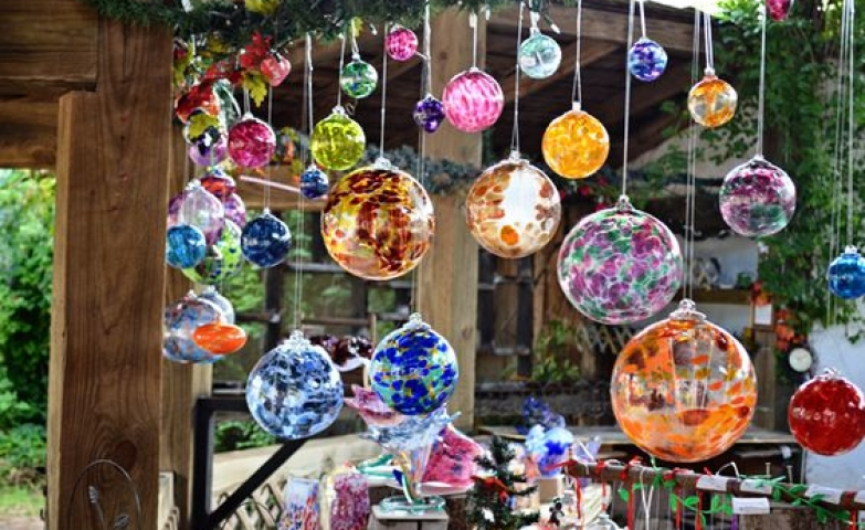 These pretty and colorful glass balls could be seen at the Texas Renaissance Festival.