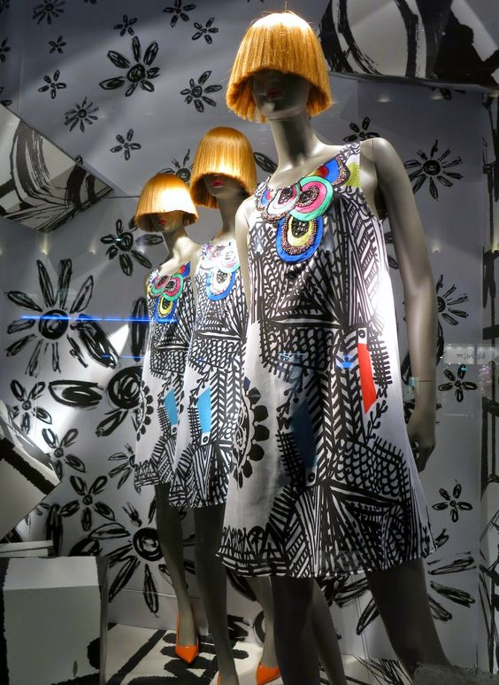 Desigual's trippy designs get a matching window visual merchandising display for their store in London.