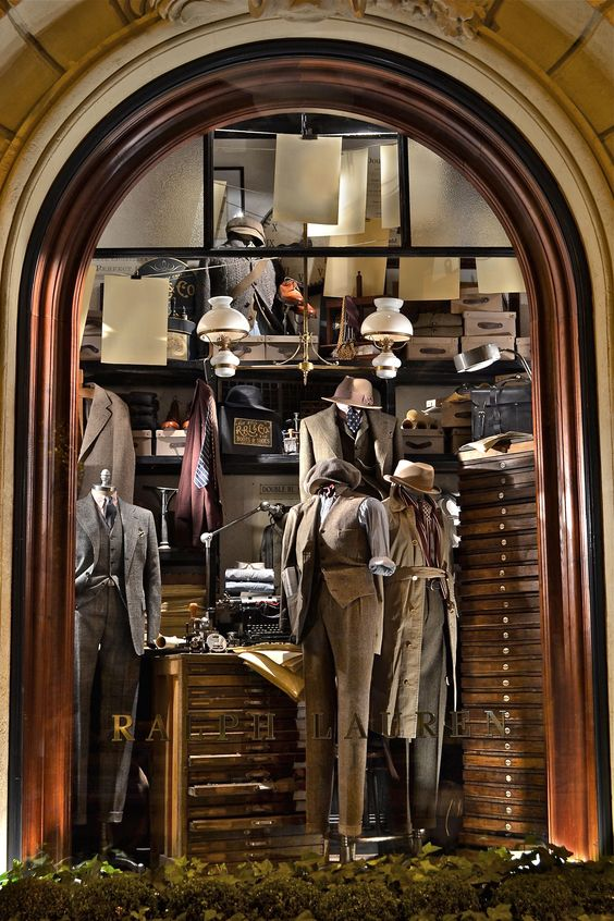 Gentlemen's wear for the Fall season, widow display at the Ralph Lauren, St. Germain store in Paris, France.