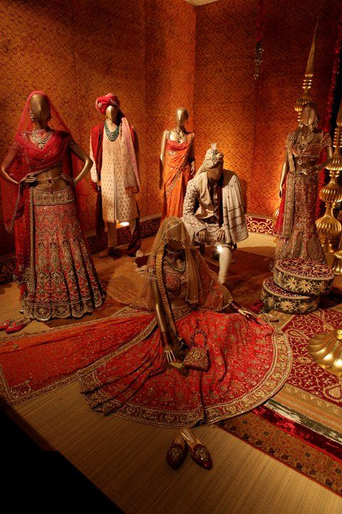 Real-life imitating visual merchandise display scenery representing Indian fashion.