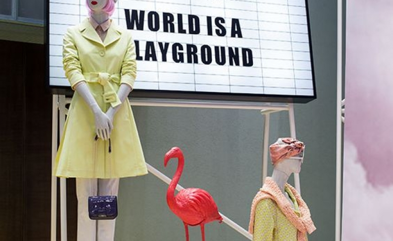 """World is a playground"" is the theme of this display by Max & Co seen in Milan, Italy."