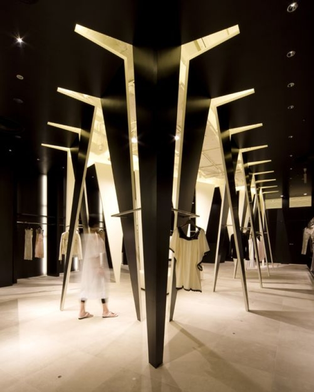 Unique store idea from Duras Ambient, a masterpiece of architectural design, dividing the space into two distinct zones of light and dark, Japan.