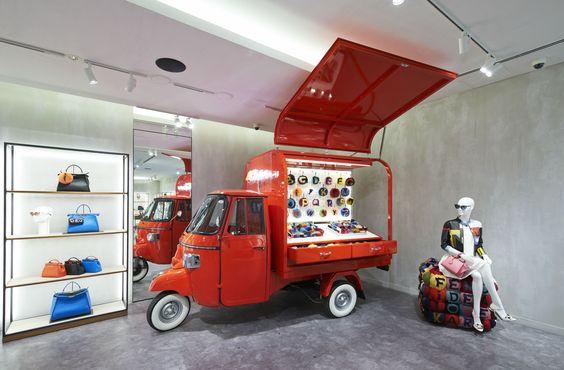 Very unique and humorous Fendi visual merchandising display seen in Tokyo, Japan.