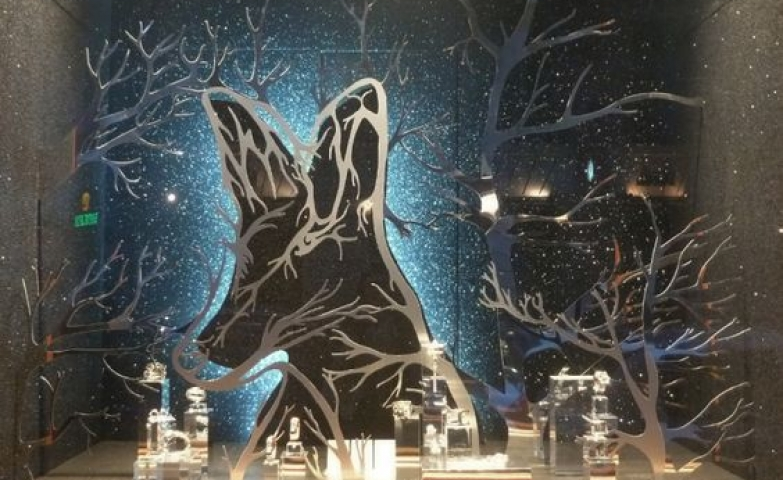 Animal shapes and three branches props used for a Christmas window display by Hermes, Paris, France.