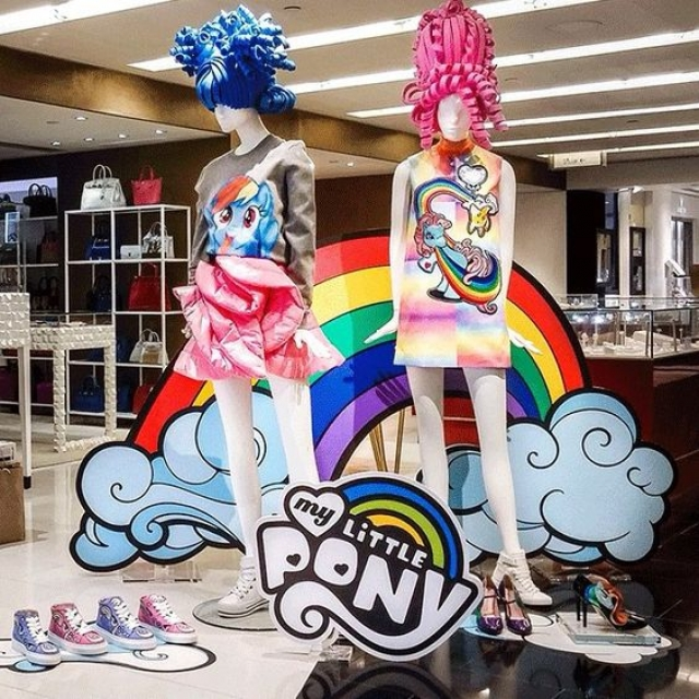 Big rainbow, lots of pink and blue and the my little pony used for a Harvey Nichols display in Hong Kong.