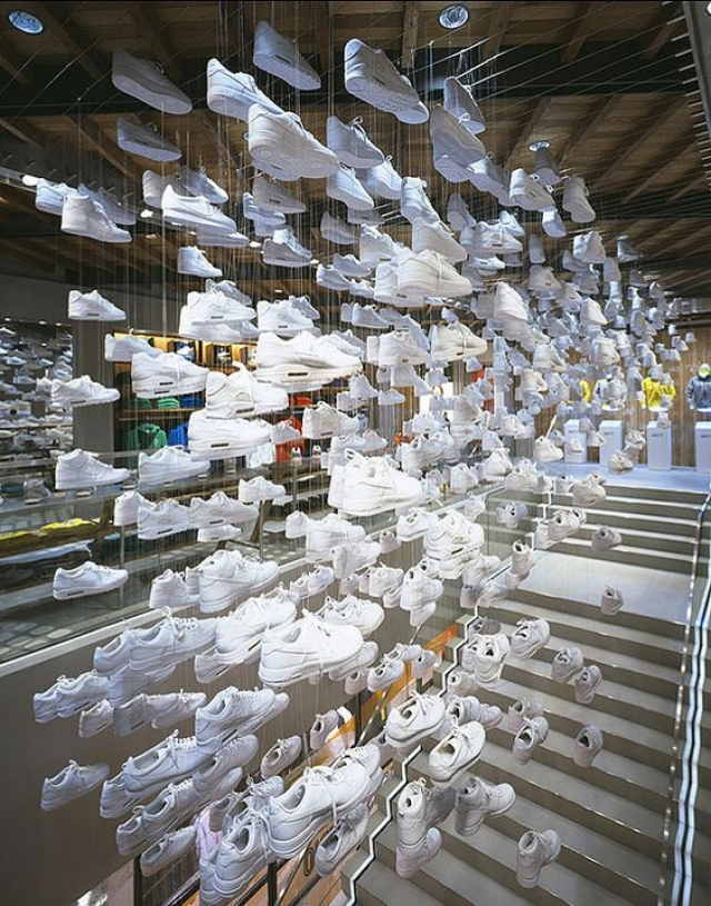 Great example from Nike Flagship store in Tokyo for inspiring footwear visual merchandising retail design.
