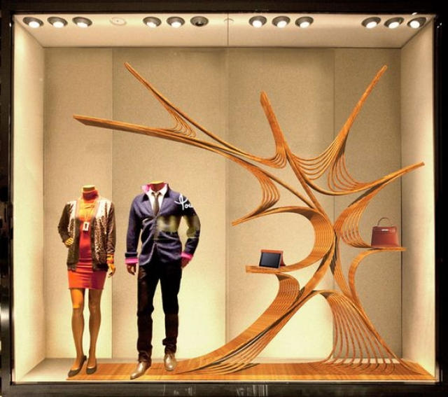Window display design by James Chang for a Hermes store window in China.