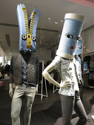H&M display in London creative and playful with a sense of humor, all about the denim.