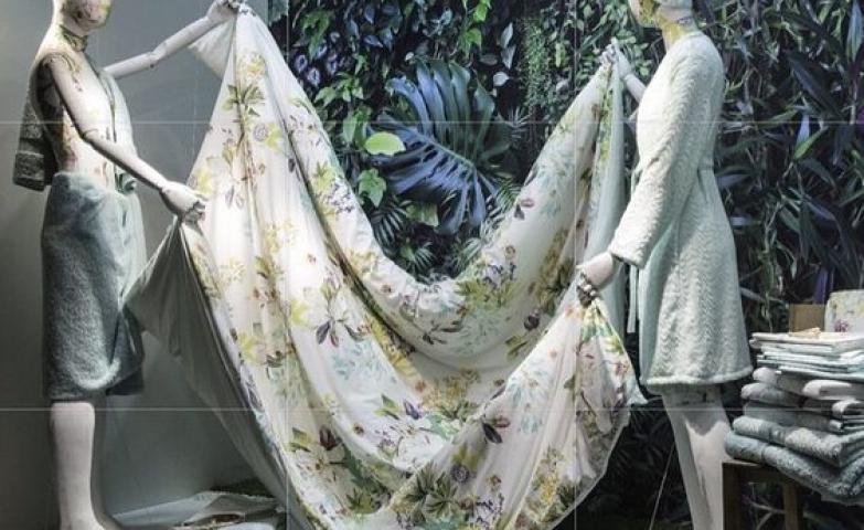 "Harrods Home visual merchandising display themed ""Feelings of love"" seen in London."