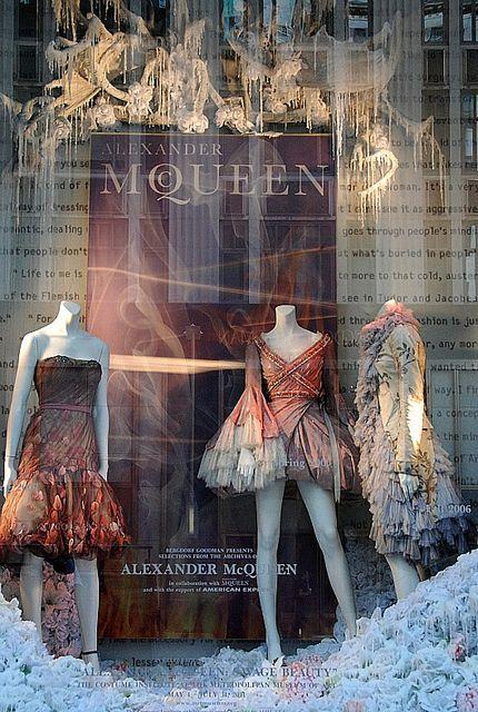 Alexander McQueen fairy-tale like window visual merchandising seen in New York City.
