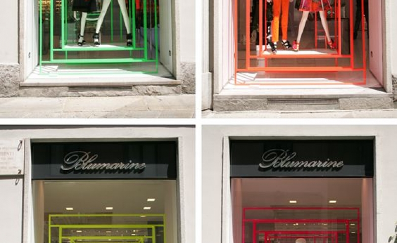 Crazy color neon windows and silhouettes with neon accessories in Milan, Italy.