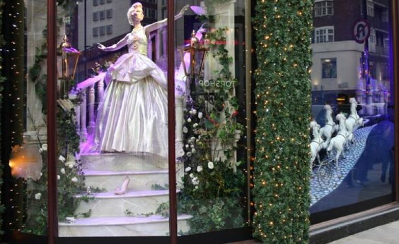 Another visual merchandising display from Harrods with a princess theme seen in London.