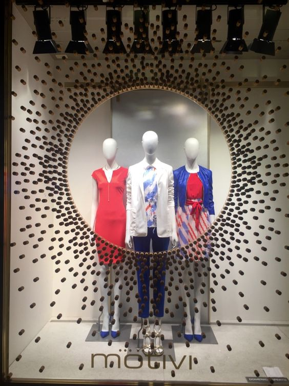 Inspiration for visual merchandising displays from a Motivi window display in Italy.