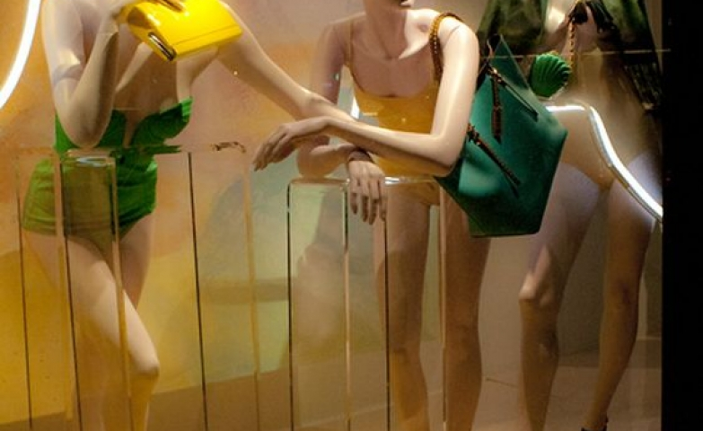 Neon, yellow and green seems to be the theme for this Harvey Nichols visual merchandising display, London.