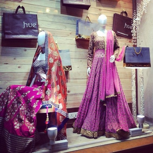 The Hue Fashions a beautiful window display which looks spectacular with the bridal & contemporary ethnic couture.