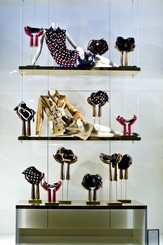 High fashion window visual merchandising set for Burberry store in Barcelona.