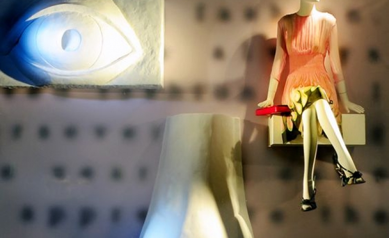 Prada visual merchandising display with eye and nose decor seen at Bergdorf Goodman, New York.