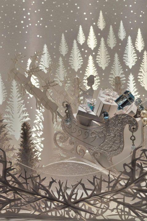 "Theme ""The faithful shopper countdown to Christmas"" with magical decor, reindeer, all white decor."