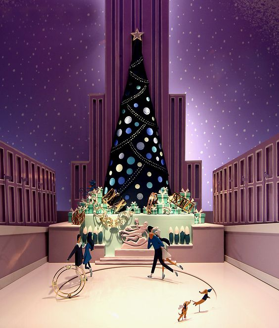 Tiffany & Co window display arrangement for the Christmas season seen in New York City.