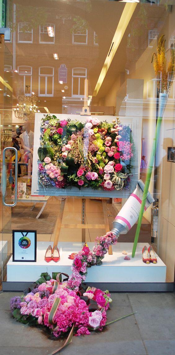 L.K. Bennett's colorful, flowery visual merchandising display in London.