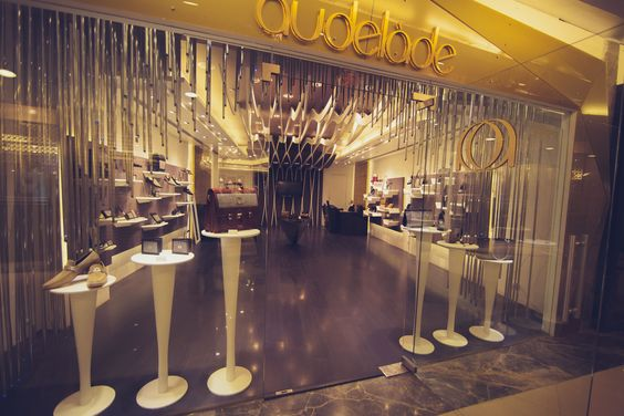 Luxurious golden looking interior and fine window display seen at the Audelade store in Mumbai.