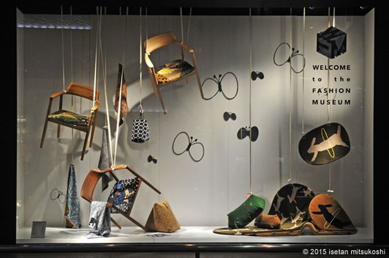 Creative and chaotic visual merchandising design with suspended chairs and randomly arranged decoration, Japan.