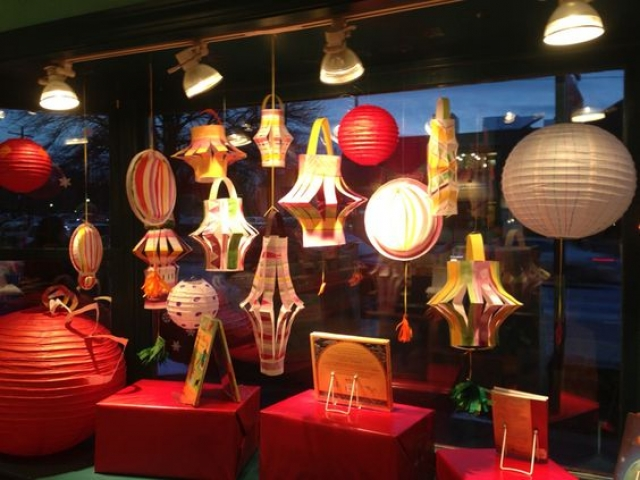 Many paper lanterns make a lovely Chinese New Year window display, at Concord Studio.
