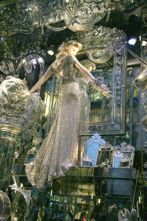 Luxurious and extravagant visual merchandising display with sparkling gem and lots of mirrors. A New York state of mind.