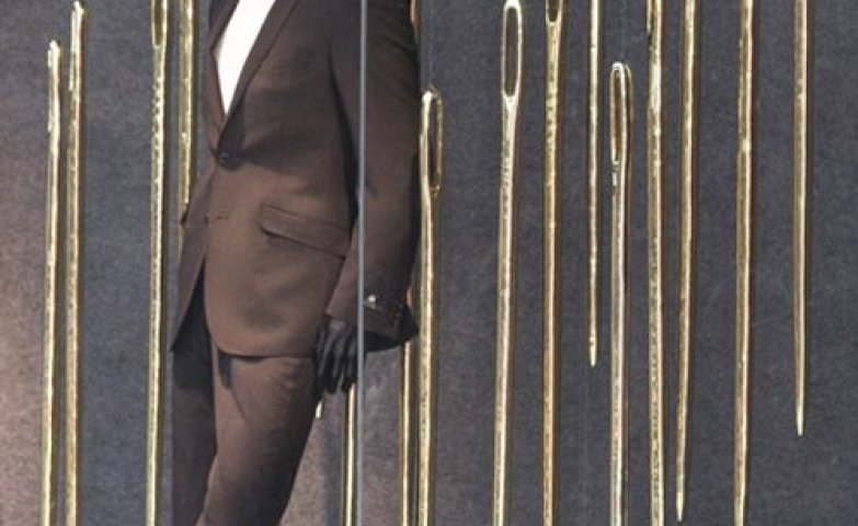 Marks & Spencer went for the tailor theme with these giant gold needles in their display in London, UK.