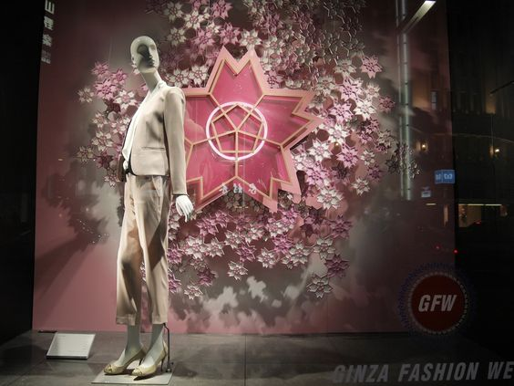 Beautiful edged pink and white flower decoration used for visual merchandising in Tokyo.