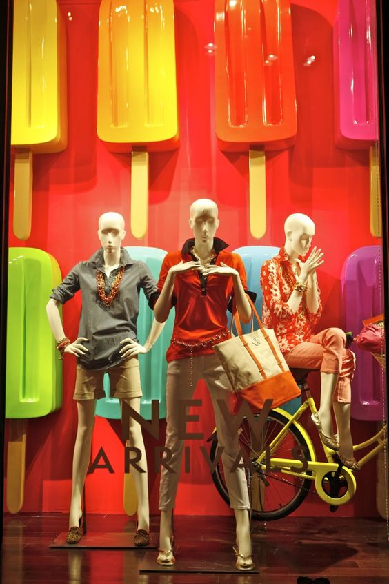 Popsicle window display with a fresh look for visual merchandising seen in New York.